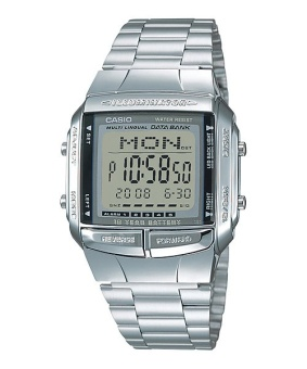 Casio Data Bank Men's Silver Stainless Steel Strap Watch DB-360-1A with 1 Year Warranty (T1Y)