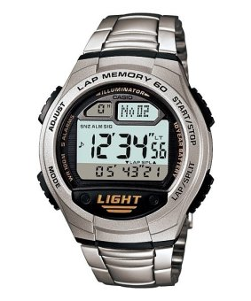 Casio Digital Men's Silver Stainless Steel Strap Watch W-734D-1AVDF