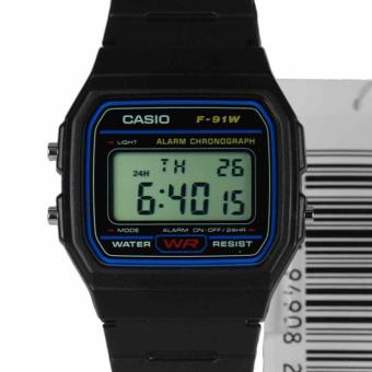 CASIO Digital Rubber Sports Unisex Watch F-91W-1SDG-Black