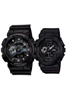 Casio G-Shock & Baby-G Men's & Women's GA-110-1B & BA-110BC-1A Couple Resin Strap Watch Black
