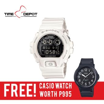 Casio G-Shock Men's White Resin Strap Watch DW-6900NB-7D with FREE Casio Watch MW-240-1B