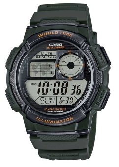 Casio Illuminator Men's Military Green Resin Strap Watch AE-1000W-3AVDF