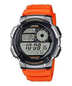 Casio Illuminator Sports Digital Men's Orange Resin Strap Watch AE-1000W-4BVDF