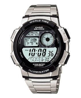 Casio Illuminator Sports Digital Men's Silver Stainless Steel Watch AE-1000WD-1AVDF