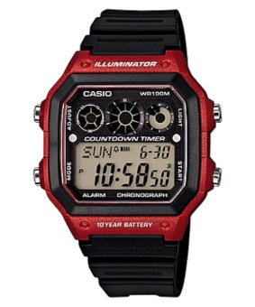 Casio Illuminator Youth Digital Black/Red Rubber Strap Watch AE-1300W-4AVDF