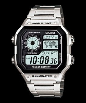 Casio Illuminator Youth Digital Stainless Steel Strap Watch AE-1200WHD-1AVDF