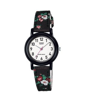 Casio Ladies Classic Women's Black Floral Leather Strap Watch LQ-139LB-1B2DF