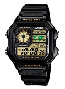 Casio Men's Black Rubber Strap Watch AE-1200WH-1BVDF