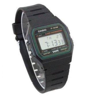 Casio Men's Black Rubber Strap Watch F-91W-3DG