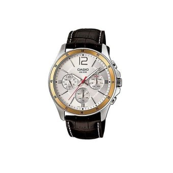 Casio Men's Brown Leather Strap Watch MTP-1374L-7AVDF