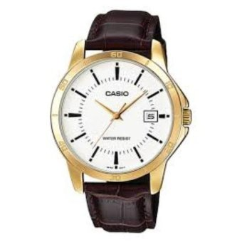 Casio Men's Brown Leather Strap Watch MTP-V004GL-7AUDF