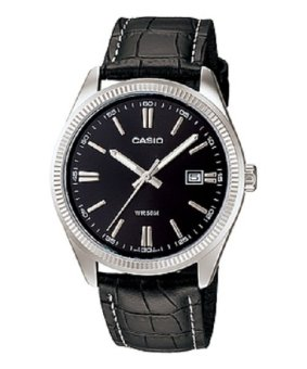 Casio Men's Black Leather Strap Watch MTP-1302L-1AVDF