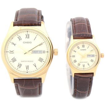 Casio Roman Numerals Couple Brown Leather Strap Watch MTP/LTP V006GL-9