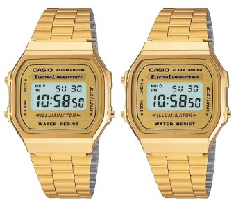 Casio Vintage Couple Gold Stainless Steel Strap Watch A168WG-9WDF
