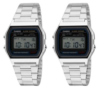 CASIO Vintage Couple Silver Stainless Steel Strap Watch A158WA-1D&A158WA-1D