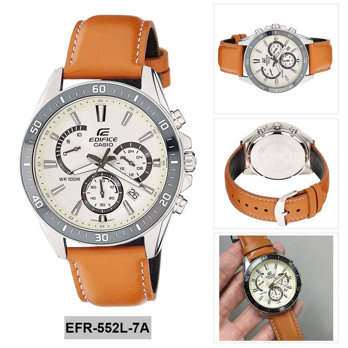 Casio Watch Edifice Multicolored Stainless Steel Case Two Tone Efr 547sg 7a9v Silver Gold Chronograph Brown Leather Strap Mens Nwt