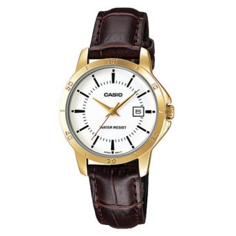 Casio Women's Brown Leather Strap Stainless Steel Gold Case Silver Dial Watch LTP-V004GL-9AUDF