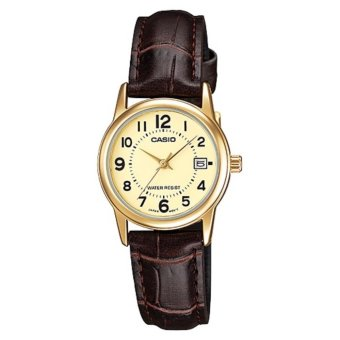 Casio Women's Brown Leather Strap Watch Gold Dial Ladies Watch LTP-V002GL-9BUDF