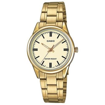 Casio Women's Gold Stainless Steel Strap Watch Gold Dial Ladies Watch, LTP-V005G-9A