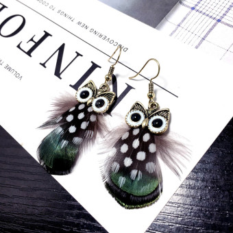 Cat Head Eagle versatile feather Green Peacock exaggerated earrings stud