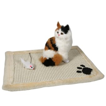 Cat Kitten Scratching Mat Training Sisal Post Claws Pad Toy Cushion Beige - intl
