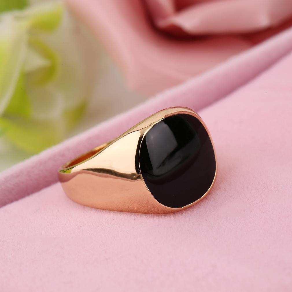 Philippines | CHEER 18K Stainless Golden Color Black Onyx Stone Men ...
