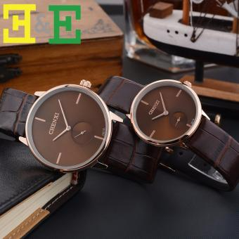 CHENXI 061A Lovers' Fashion Leather Strap Quartz CoupleWatch(Brown)