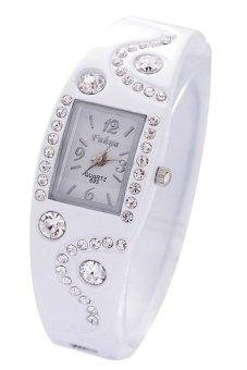 Chic Bangle Bracelet Style Wave Rhinestone Wrist Watch - White