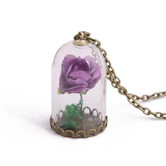 Chic Glow in the Dark Luminous Flower Glass Wishing Bottle Necklace Rose Pendant - intl