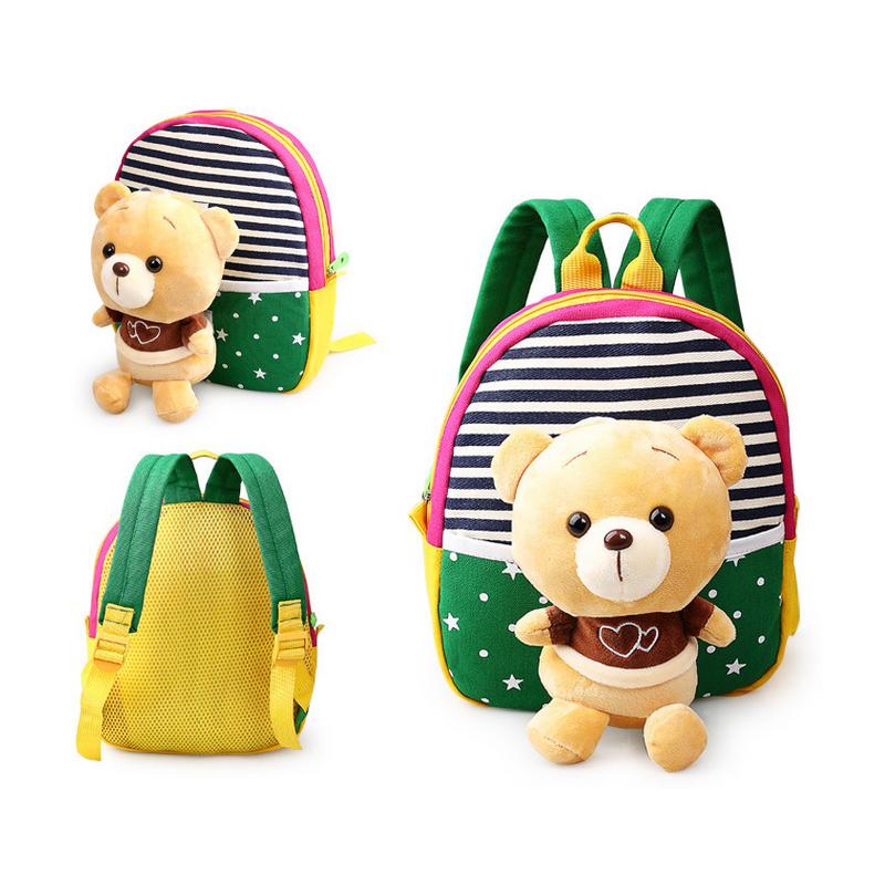 Children's school bags for boys and girls in kindergarten kids 1-3years baby bag cute backpack Green Bear