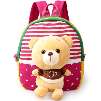 Children's school bags for boys and girls in kindergarten kids 1-3years baby bag cute backpack Red Bear Price Philippines