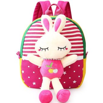 Children's school bags for boys and girls in kindergarten kids 1-3years baby bag cute backpack Red Rabbit Price Philippines