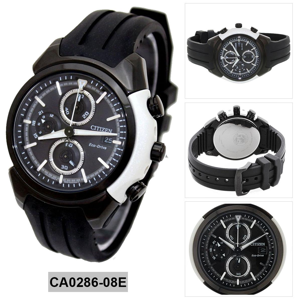 Philippines Citizen Watch Eco Drive Chronograph Black Stainless Ca4285 50h Steel Case Rubber Strap Mens Japan Nwt