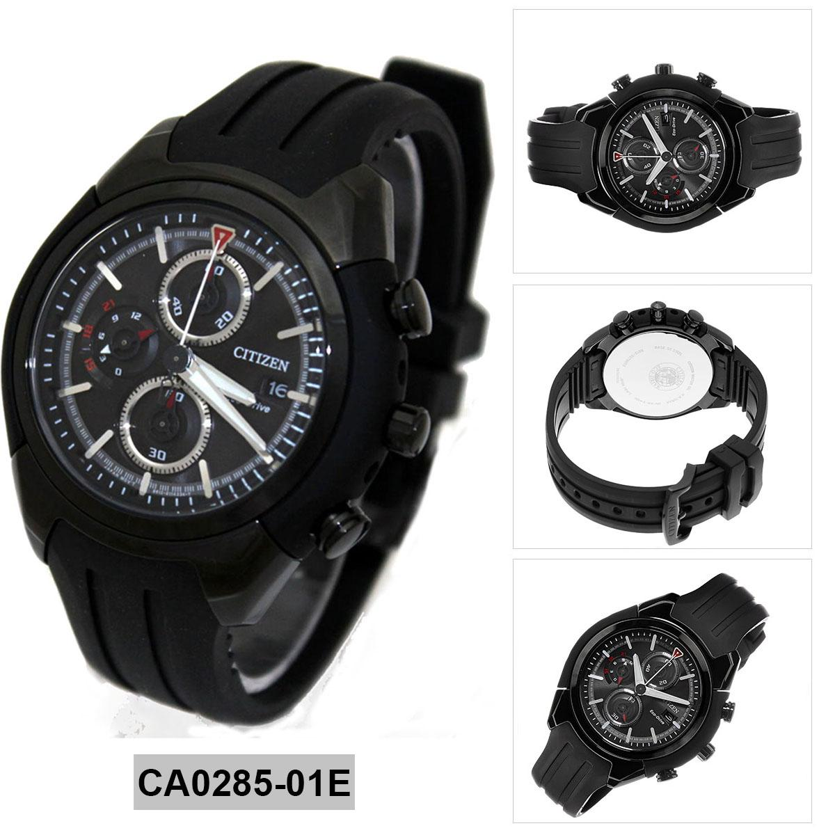 Philippines Citizen Watch Eco Drive Chronograph Black Stainless Ca4285 50h Steel Case Rubber Strap Mens Nwt