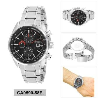 Citizen Watch Eco-Drive Chronograph Silver Stainless-Steel Case Stainless-Steel Bracelet Mens NWT + Warranty CA0590-58E