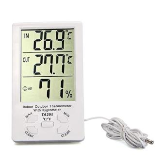 Clock + LCD Digital Hygrometer Humidity Thermometer Temperature Meter In/Outdoor