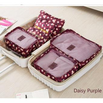 Clothes Storage Travel Luggage Organizer Bag 6pcs. Set(Daisy red)