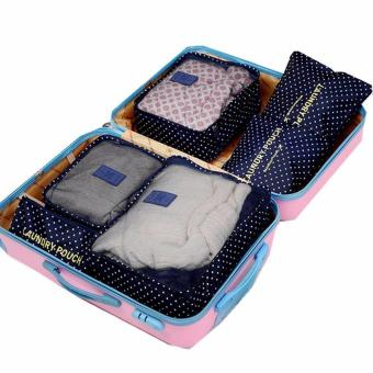 Clothes Storage Travel Luggage Organizer Bag 6pcs. Set(Polka dotblue)