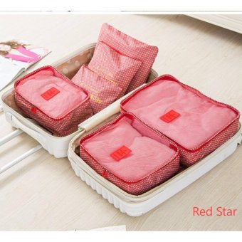 Clothes Storage Travel Luggage Organizer Bag 6pcs. Set(Star Red)