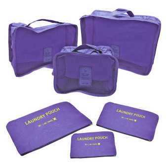 Clothes Travel Luggage Organizer Pouch (Violet) Set of 6
