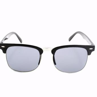 Clubmaster Classic Square Sunglasses with Black Flash Lenses 3398and Square Aviator Sunglasses Unisex Black Frame with Black Lens_Avi_976 set of 2 - 2