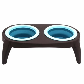 Collapsible Silicon Pet Feeder Bowl with Stand (Blue)