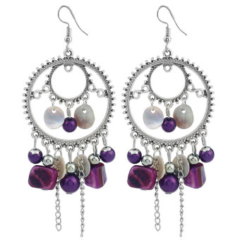 Concise European and American Metal exaggerated elegant pearl earrings