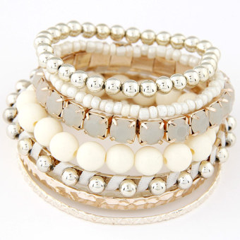 Concise European and American riveted beads multi-layer bracelet