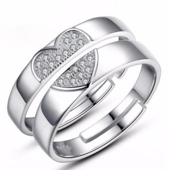 Connecting Half Heart Silver Plated Couple Ring Adjustable High Quality Fashion Ring