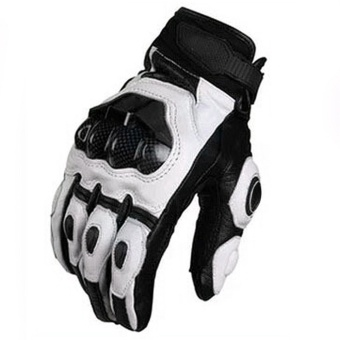 Cool Genuine Leather Carbon Fiber Motorcycle Gloves Keeping WarmMen Full Finger Adjustable Outdoor Riding Cycling Fitness HandGloves White For Driving BMX ATV MTB Size L - intl