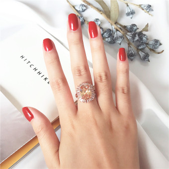 Cool Japan and South Korea female exaggerated finger ring Citrine Ring (Luxury models 1.8 cm (Hong Kong Code 15-16 #))