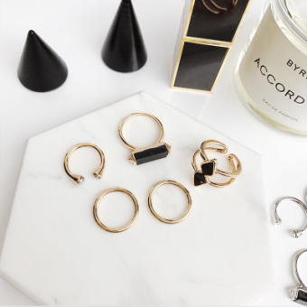 Cool Japan and South Korea female exaggerated joint finger ring (Gold Five piece set ring) (Gold Five piece set ring)