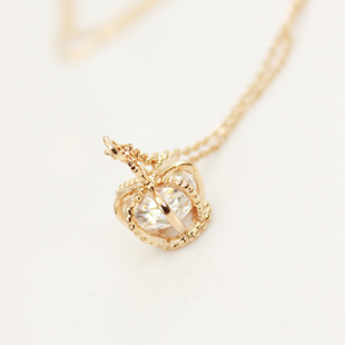 Cool Korean-style New Cross rack small CROWN crystal necklace