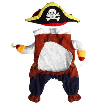 Cool Pirate Style Pet Clothes Dress with Hat for Puppy Dog CatClothing Halloween Cosplay Party Apparel Costume Size S